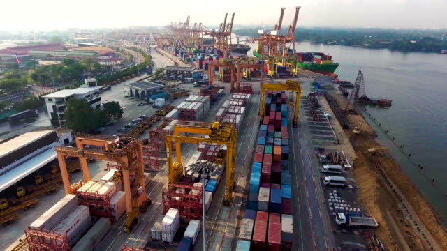 Container Ship  loading Containers in a Industrial Dock. video