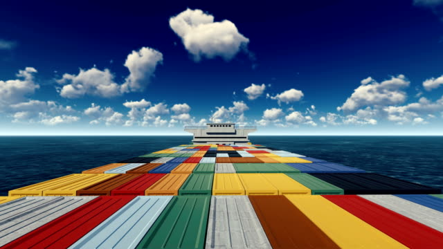 Container ship out at sea