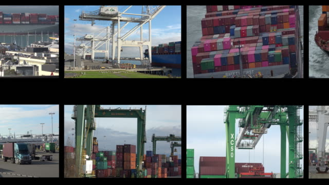 container shipping film reel montage - montaggio in sequenza video stock e b–roll