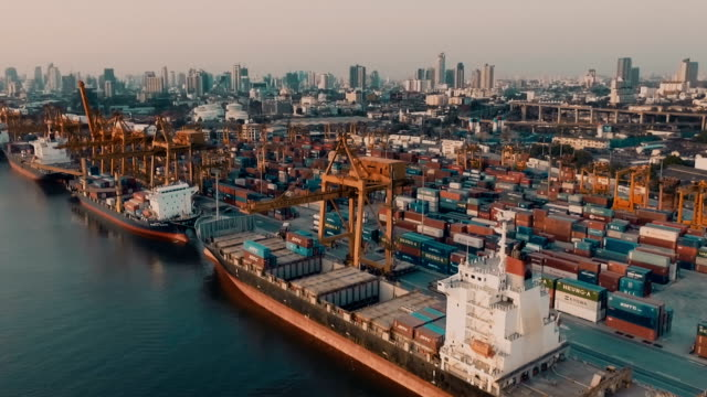 container ships in harbor video