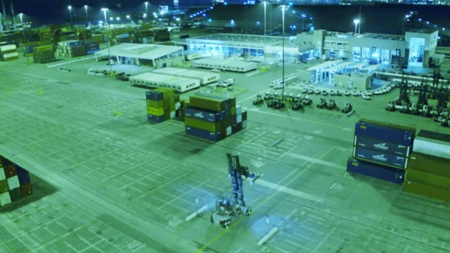 Container Yard at Night - Aerial Shot video