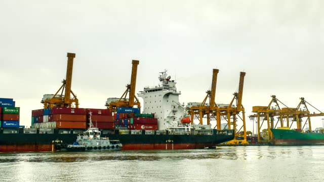 Containers at Bangkok commercial port, Thailand. video