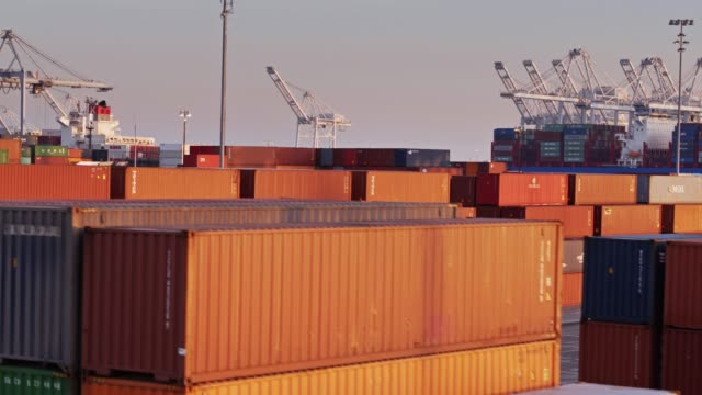Containers, Trucks and Ships in Port of Long Beach - Drone Shot video