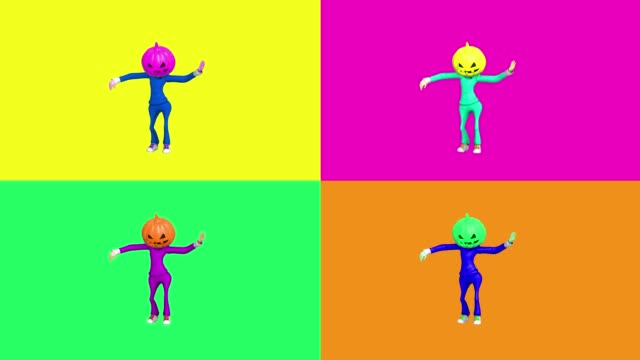 contemporary animation cartoon art. dancing pumkin head helloween girl. fashion colorful vibes. minimal motion art. pop art. bright chemical colors - gif filmów i materiałów b-roll