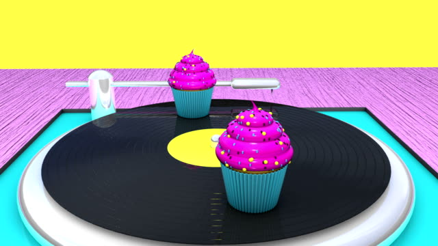 Contemporary art of gramophone with vinyl record and cupcakes. Looped 3D animation.