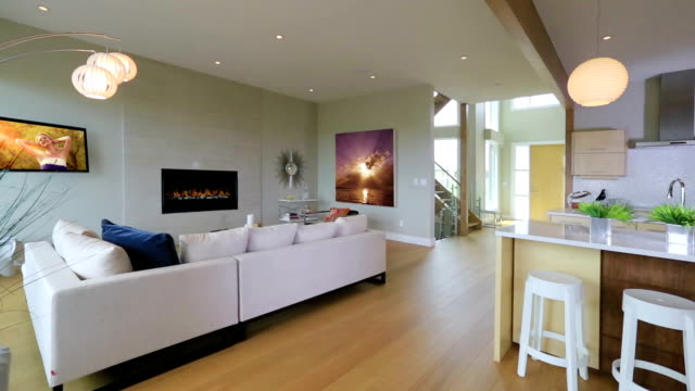 Contemporary living room with fireplace Contemporary or modern living room with high definition television,fireplace and artwork.  The architecture is a clean and simple open style. living room stock videos & royalty-free footage