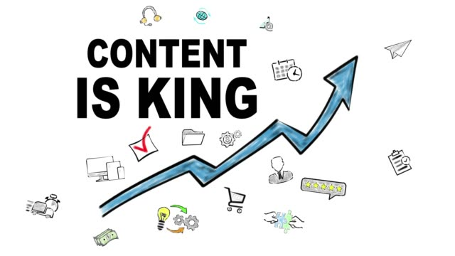 Content Is King. Blue Arrow With Icons