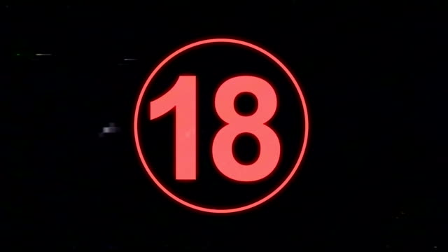 18 Content Warning in VHS Retro Look video