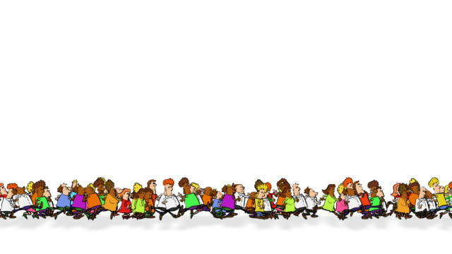 Continual line of running cartoon people video