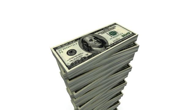 continuo aumento da 100 dollari pile (ciclo, alfa - alto video stock e b–roll