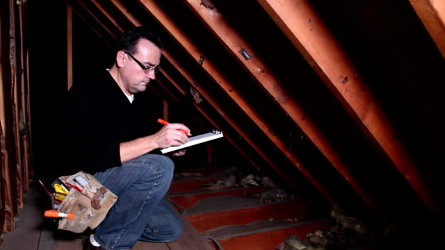 Contractor A contractor inspects an attic. quality control stock videos & royalty-free footage