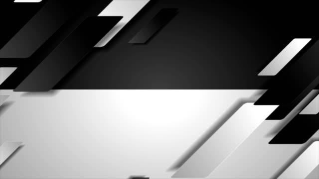 대비 블랙 화이트 테크 기하학적 모션 배경 - 틸트 스톡 비디오 및 b-롤 화면