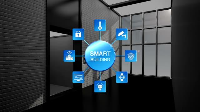 kontrolle auto lift im smart building, internet der dinge informationen graphic.smart stadt zu bauen. - smart city stock-videos und b-roll-filmmaterial