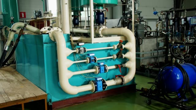 control skid cabinet with pipeline system in plant workshop