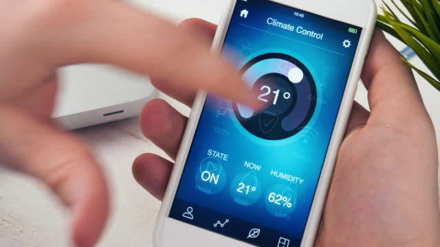 Controlling temperature in the house using smartphone app video