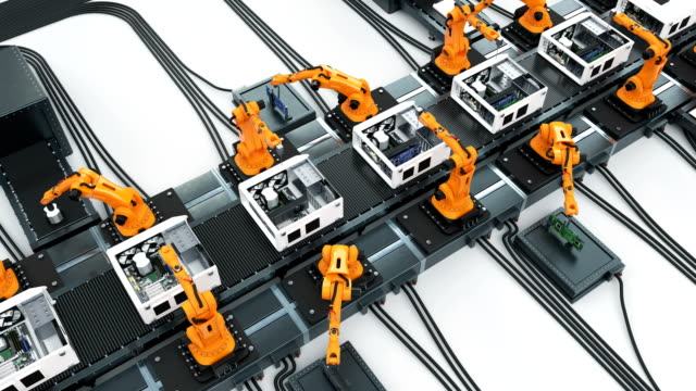Conveyor Belt and Many Robotic Arms Assembling Computer Cases. Advanced Automated Process. Looped 3d Animation. Business and Technology Concept.