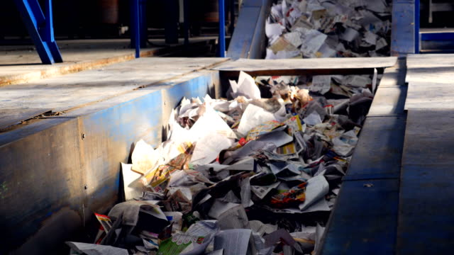conveyor for sorting garbage. paper on the sorting conveyor. waste sorting. - recycling stock videos & royalty-free footage