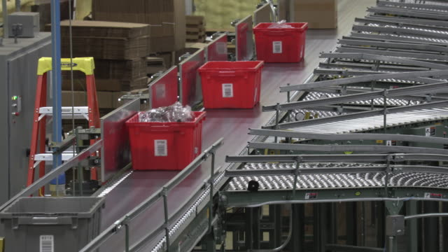 Conveyor rollers sorting totes  and boxes on a line video