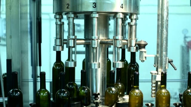 와인 팩토리 화이트 와인 생산, 병 세척 및 충전에서 와인 병을 곁들인 컨베이어 - 와인병 스톡 비디오 및 b-롤 화면