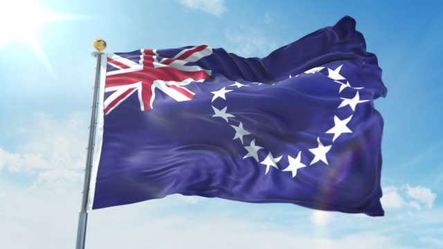Cook Islands flag waving in the wind against deep blue sky. National theme, international concept. 3D Render Seamless Loop 4K Cook Islands flag waving in the wind against deep blue sky. National theme, international concept. 3D Render Seamless Loop 4K allegory painting stock videos & royalty-free footage