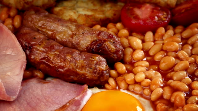 Cooked Breakfast With Sausages, Egg, Beans, Bacon And Hash Browns video