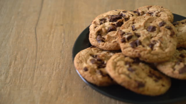cookies with dark chocolate chips cookies with dark chocolate chips cookie stock videos & royalty-free footage