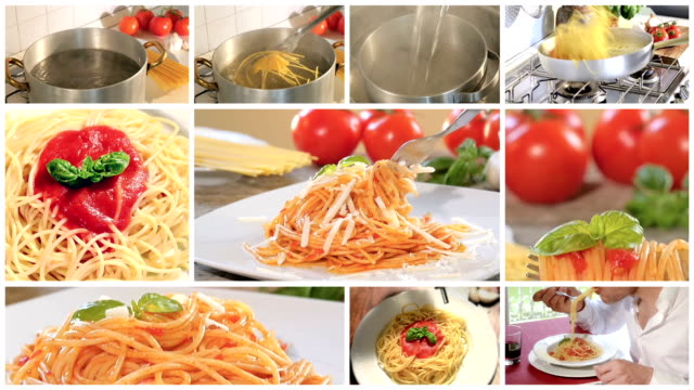cooking and eating italian spaghetti montage video