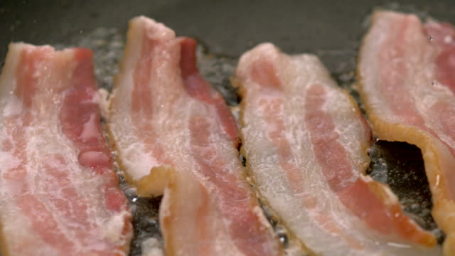 Cooking bacon, Slow Motion video