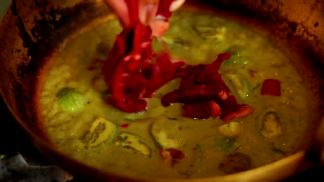hd cooking beef green curry - thai food stock videos and b-roll footage