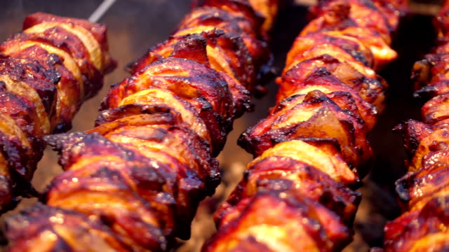 cooking delicious skewers on barbecue grill in slow motion - buffet video stock e b–roll