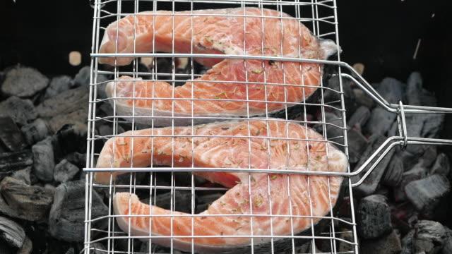 matlagning färsk lax på bbq - marinad bildbanksvideor och videomaterial från bakom kulisserna