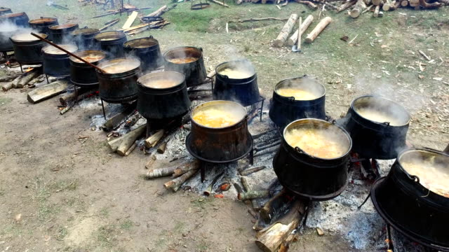 Cooking in the large cauldrons on the open fire in woods video