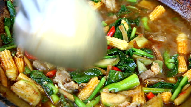 cooking  jungle  curry or kangpa , thai food - thai food stock videos and b-roll footage