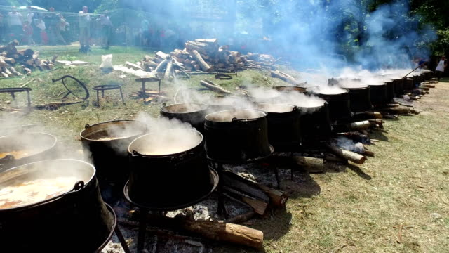 Cooking outdoors in cast-iron cauldron. Cooking meat food on a fire in nature. video