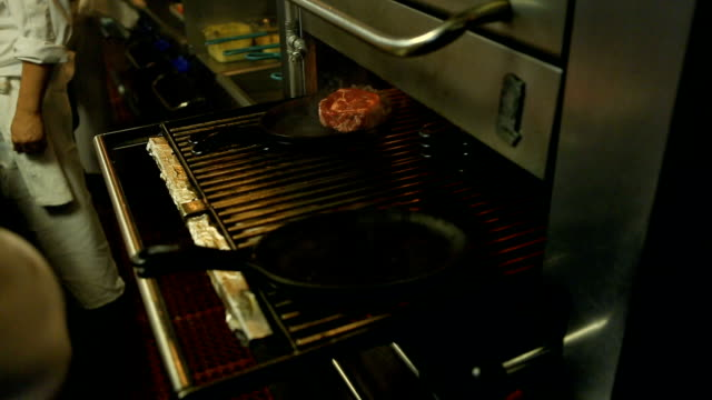 Cooking Steaks in a resturant video