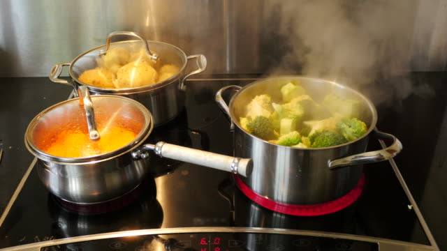 Cooking vegetables for the Sunday Roast video