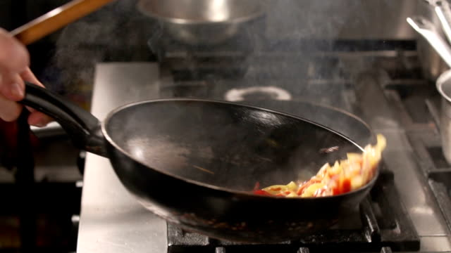 Cooking vegetables Chef cooking vegetables frying pan stock videos & royalty-free footage