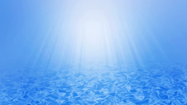 Cool blue underwater wave background with sun rays beam, UHD 4k. video