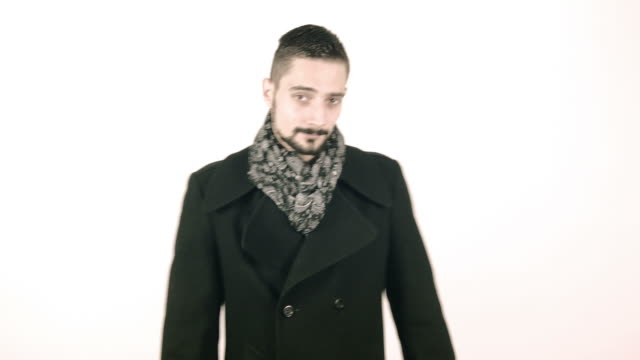 Cool elegant business man with coat video