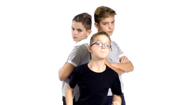 Cool gang of three brothers at white background video