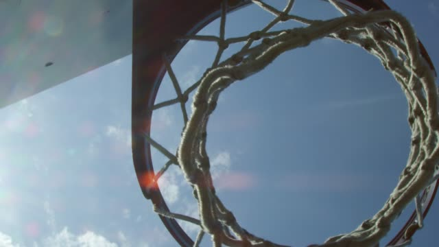 Cool shot from underneath a basketball net video