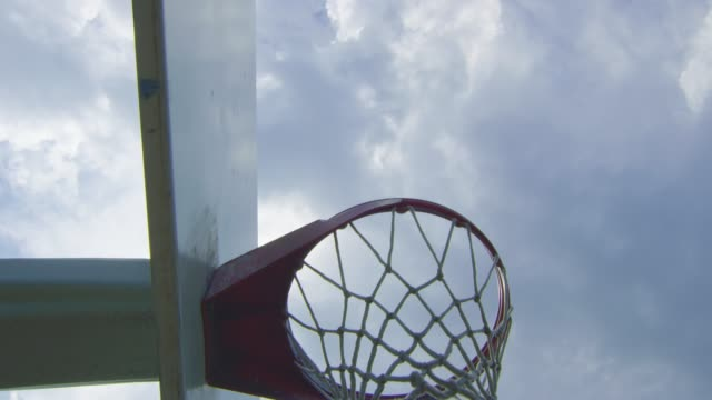 Cool slow motion shot passing by a basketball hoop video