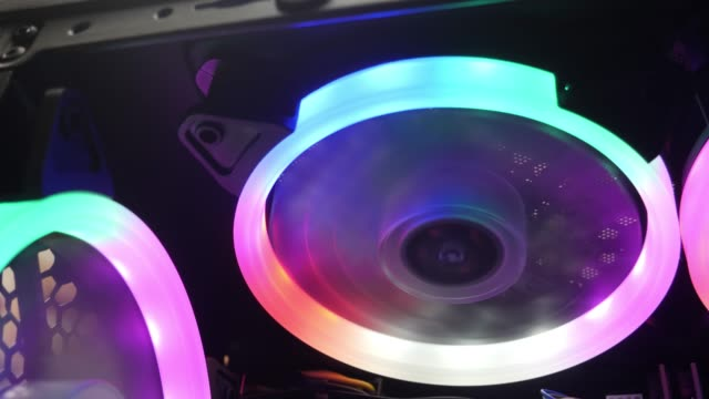 Cooling Fans Illuminated by LEDs Inside Personal Computer