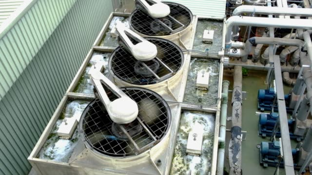 Cooling tower in manufacturing factory.