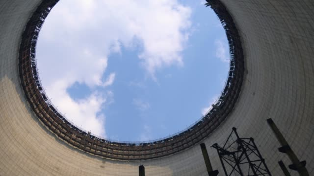cooling tower of chernobyl nuclear power station - concrete architecture stock videos & royalty-free footage