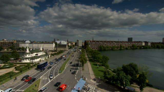Copenhagen lakes time lapse pan video