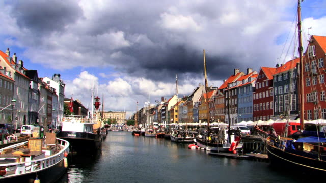 Copenhagen, Nyhavn harbour in summer video
