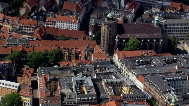 Copenhagen - Round Tower  - Aerial View - Capital Region, Copenhagen municipality, Denmark video