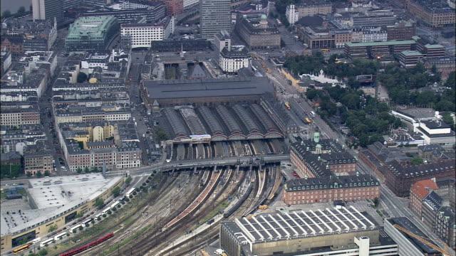 Copenhagen - Train Station  - Aerial View - Capital Region, Copenhagen municipality, Denmark video