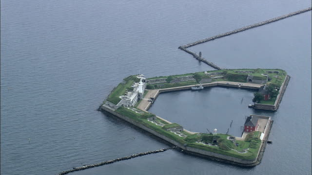 Copenhagen - Trekroner Fort In Harbour  - Aerial View - Capital Region, Denmark video